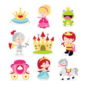A cartoon vector illustration of cute and fun princesses prince and knight theme icons set Included in this set:- crown princesses frog prince knight in armor castle prince horse and carriage