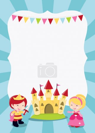 Illustration for A cartoon vector illustration of a princesses, prince and knight party theme blank copy space. Ideal for party invitations, kids' poster and more. - Royalty Free Image