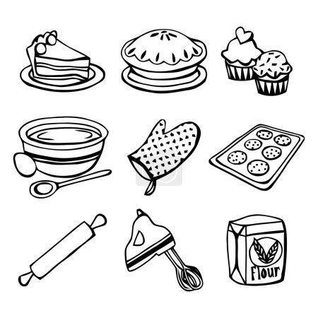 Baking Icons Doodle Line Art