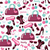 Girly Fashion Beauty Seamless Pattern Background