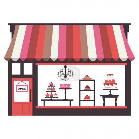 A chic vector illustration of a cake shopfront wit...