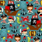 A vector illustration of retro pirate adventure seamless pattern background It's fun cute and filled with pirates pirate ship pirate parrots and more