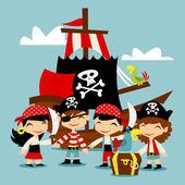 A vector illustration of retro pirate adventure kids scene
