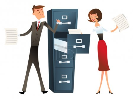 A vector illustration of a business man and woman ...