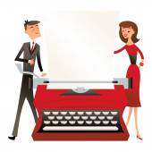 A vector illustration of a business man and woman standing behind a large vintage typewriter in retro mid century modern style