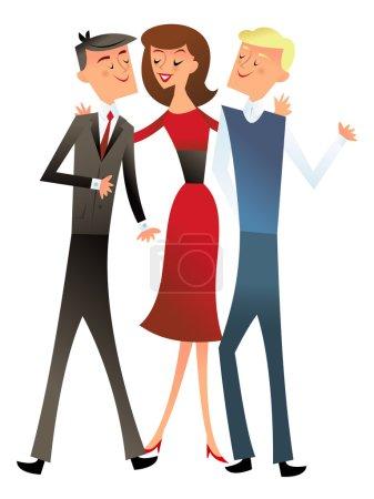 Illustration pour Illustration vectorielle d'un groupe de trois collègues de bureau heureux dans le style rétro moderne du milieu du siècle . - image libre de droit