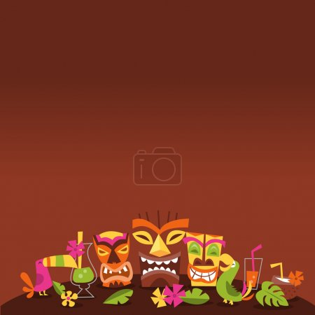 Illustration for A vector illustration of 1960s retro inspired cute hawaiian luau party tiki theme with dark background copy space above. - Royalty Free Image