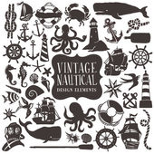 A vector illustration of vintage hand drawn nautical design elements set The set contains 43 different maritime theme clip arts like ships anchors maritime sea creatures to lighthouses The design elements is black in colour on a white background