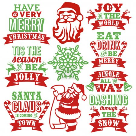 Vintage Paper Cut Christmas Word Art Set