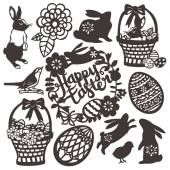 This image is a vector illustration of vintage inspired paper cut style easter or spring design silhouette set This set includes rabbit easter basket bird happy easter wreath easter eggs and flower filigree  All of the design elements are black