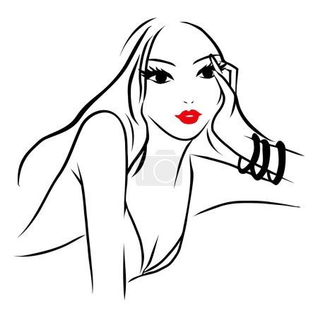 Vector Ink Line Art Beautiful Woman Pondering