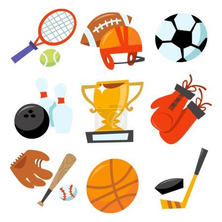Cartoon vector illustration of fun wonky sporting icons set