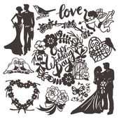 Vintage Paper Cut Wedding Silhouette Set