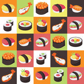 Colorful Japanese Sushi Tiles Background