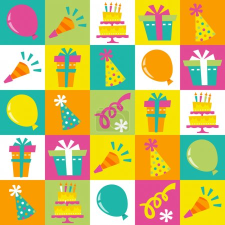 Illustration for This image is a vector illustration of fun and retro birthday extravaganza seamless tiles pattern background. The tiles has various birthday party design elements like cake, balloons, gifts, party hat and confetti. The 5x5 tiles are multicolor (blue, - Royalty Free Image