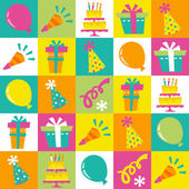 Retro Birthday Extravaganza Tiles Pattern Background