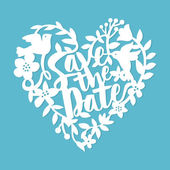 This image is a vintage paper cut style save the date floral heart lace The heart lace is composed of flowers leaves vines birds and save the date phrase The heart is white in colour set against a blue background