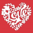 This image is a vintage paper cut style love flora...