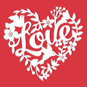 This image is a vintage paper cut style love floral heart lace The heart lace is composed of flowers leaves vines birds and love phrase The heart is white in colour set against a red background