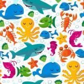Happy Fun Cartoon Sea Creatures Seamless Pattern Background