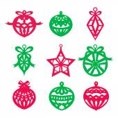 A vector illustration of nine different paper cut inspired christmas ornament