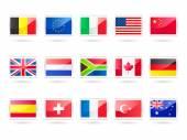 Sleek Glossy Flags Icons