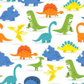 A vector illustration of a cute and colorful cartoon dinosaurs theme seamless pattern background
