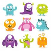 Vector illustration of nine monsters with toothy grins  The first monster is blue and oblong-shaped with dark spots on its lower body  The second monster is a purple blob with one eye and green striped horns  The third monster is round and furry w