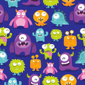 An illustration of happy silly cute monsters  There 28 monsters in the illustration  Some of them are fully visible and some partially visible  The monsters are in different colors: dark purple orange pink lime green and blue  They are makin