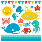 Submarine And Sea Creatures