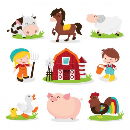 Illustration for A cartoon vector illustration set of a group of happy barnyard farm animals and characters. Included in this set:- cow, horse, sheep, farm girl, farm, farm boy, ducks, pig and rooster chicken. You can create your own farm scene using this set. - Royalty Free Image