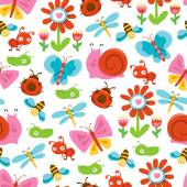 A vector illustration of happy sweet and cute garden bugs seamless pattern background