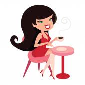 A cartoon vector illustration of a cute pinup girl sitting down with her coffee
