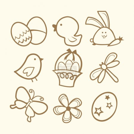 Doodle Line Art Easter Icons