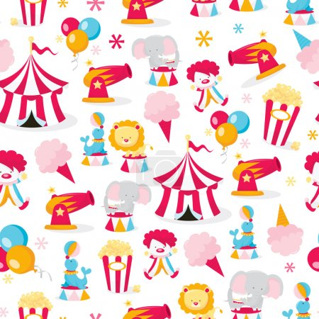 Circus Theme Seamless Pattern Background