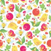 Cute Spring Seamless Pattern Background