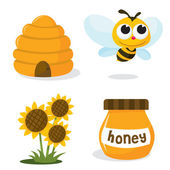 A vector illustration set of honey bee related icons like happy honey bee beehive honey jar and sunflower
