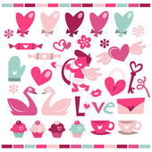 A vector illustration of love is in the air theme in fun retro whimsical style