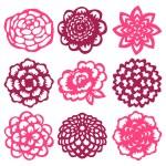 A vector illustration set of nine different flower...
