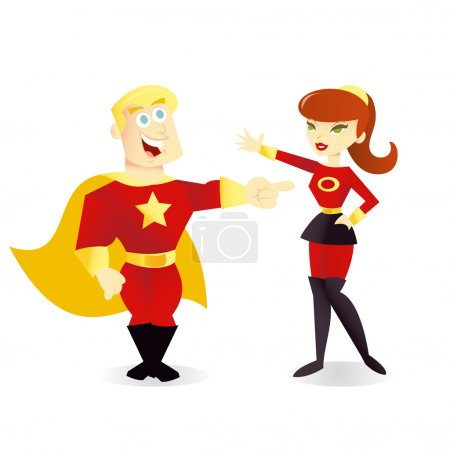 Illustration for A cartoon vector illustration of a regular office girl and her superhero alter ego. - Royalty Free Image