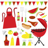 A vector illustration of whimsical fun summer barbecue party clip arts Included in this set:- red kettle type bbq grill utensils kebab apron vegetables bbq sauces chilli and ketchup salt and pepper hot dog meat and sausages