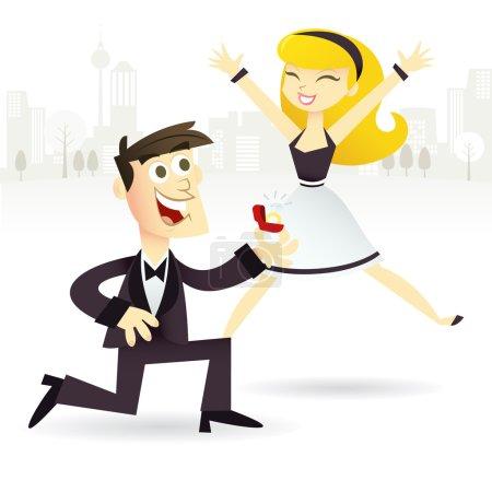 Illustration pour Une illustration vectorielle de dessin animé d'un couple heureux d'être fiancé. Le futur marié s'agenouille avec une bague en diamant tandis que sa future mariée saute de joie . - image libre de droit