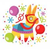 A vector illustration of whimsical fun pinata balloons and confetti