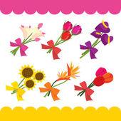 A cartoon vector illustration set of cute flower bouquet
