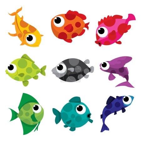 Illustration pour Une collection d'illustrations vectorielles de dessins animés de poissons mouchetés colorés . - image libre de droit