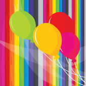 A vector illustration of colorful balloons set on a rainbow stripes background