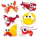 A colorful cartoon crustacean family vector illust...
