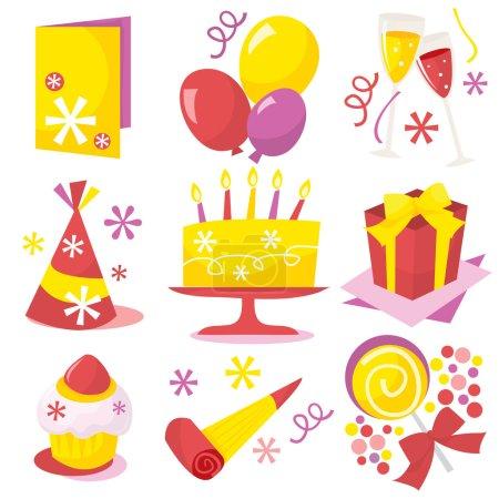 Retro Birthday Party Icons