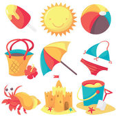 A set of cute summer and beach icons