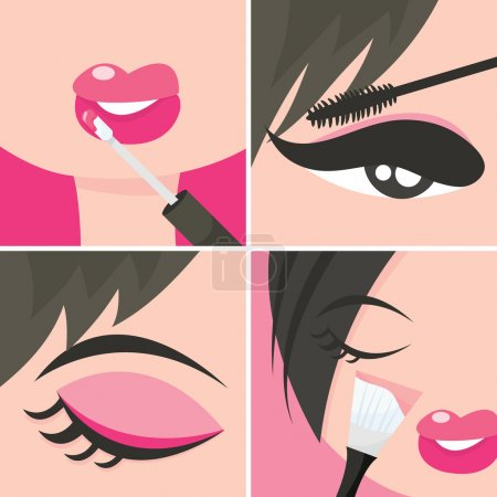 A set of four popart about applying makeup or cosm...